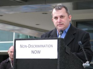Del. Adam Ebbin (D) speaks at GMU Law anti-discrimination rally