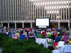 Outdoor movie in Crystal City
