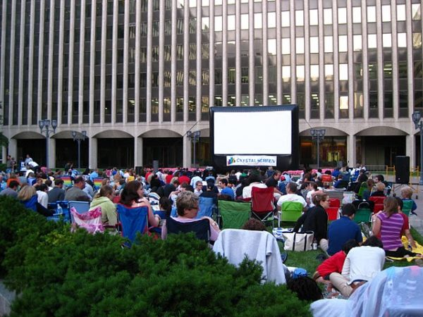 Outdoor movie in Crystal City
