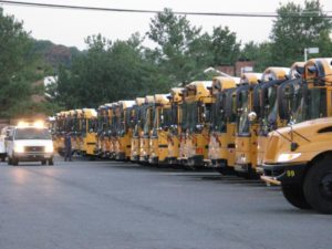 School buses in the Shirlington yard. (File photo)