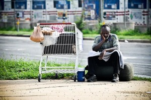 A homeless man in South Arlington (File photo by Chris Rief)