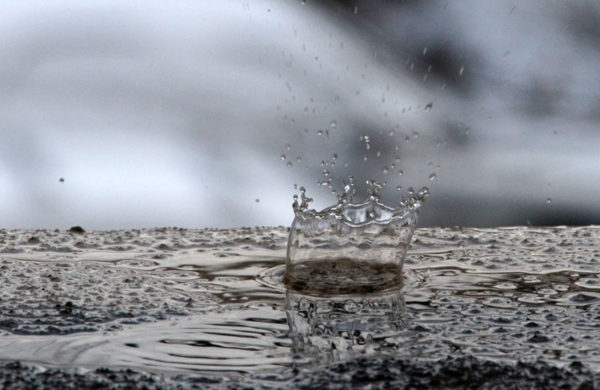 A drop of melting snow makes a tiny splash