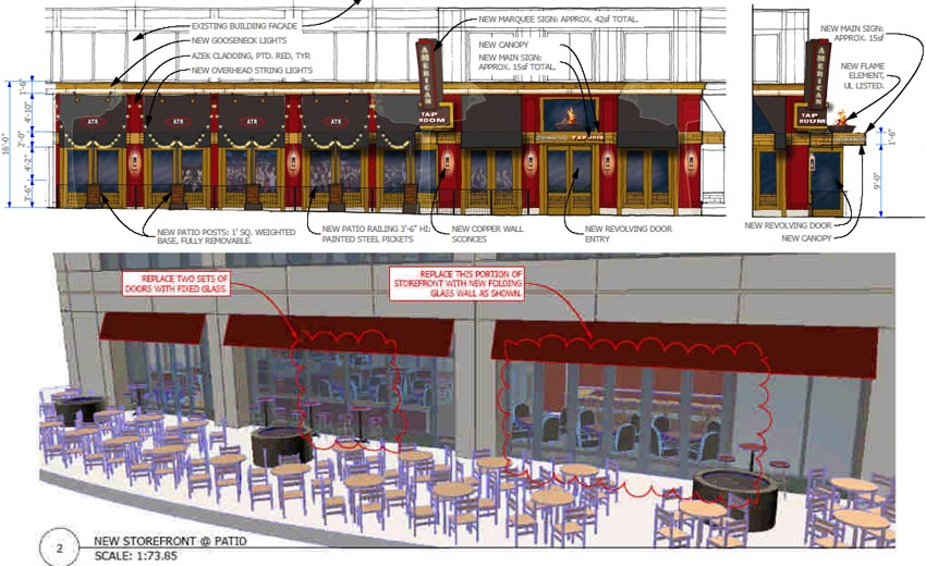 Signage, Outdoor Seating Proposed for American Tap Room | ARLnow.com