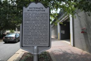 "Historical marker outside the ""Watergate garage"" in Rosslyn"