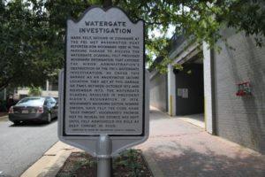 "Historical marker outside the ""Watergate garage"" in Rosslyn"