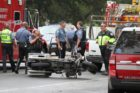 An ACPD motorcycle officer was hurt in a wreck on Route 50