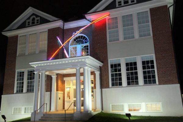 The Arlington Arts Center at night.