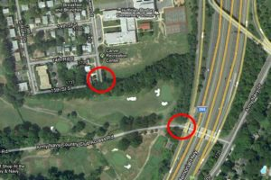 Map showing points of entry to proposed emergency access/bike path through Army Navy Country Club