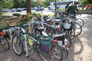 Bicycles at the Bike to Work Day pit stop in Rosslyn