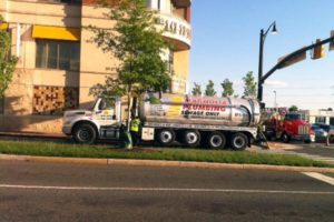 Crews on the scene of a possible sewage spill at the Potomac Yard Harris Teeter (photo courtesy Douglas Wendt)