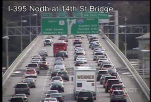 I-395 is backed up from an accident near the 14th Street Bridge