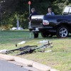 Two cyclists were seriously injured by an out-of-control pickup truck on Four Mile Run Drive