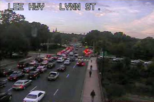 A traffic camera view via Arlington County of the intersection at I-66 and N. Lynn Street.