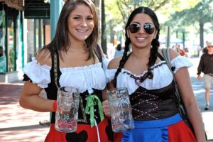 Two attendees at the Shirlington Oktoberfest (photo courtesy Capitol City Brewing Company)
