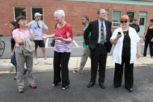 Superintendent Dr. Patrick Murphy and School Board member Sally Baird at Walk and Bike to School Day 2012