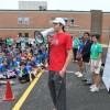 Ultramarathoner Michael Wardian talks to students for Walk and Bike to School Day 2012 at Oakridge Elementary School