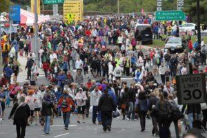 Marine Corps Marathon finish festival in Rosslyn (photo by ARLnow.com)