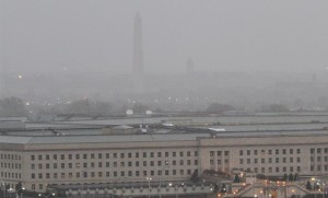 The Washington Monument seen in the background of the Pentagon during Hurricane Sandy Monday morning