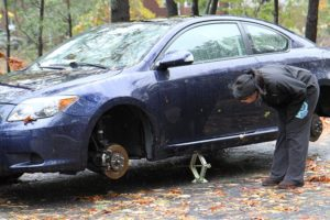 A thief or thieves stole the wheels off a car in Arlington Forest during the height of Superstorm Sandy (file photo)