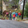 Neighbors look at a large tree that fell in the front yard of a home in Lyon Park