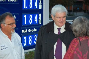 Next Gingrich at a cheap gas promotion on Columbia Pike (photo courtesy Scot Crockett)
