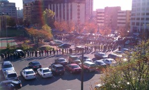 Long line to vote, as seen from the roof of Arlington Central Library (photo courtesy Peter Golkin)
