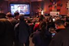 Democrats watching election returns at the Arlington Cinema Drafthouse