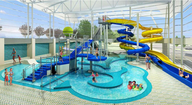 Renderings of the planned Long Bridge Park Aquatics, Health & Fitness Facility