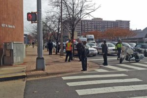 A man fell from the Ballston public parking garage Monday afternoon