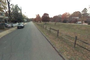 View of Bluemont Junction Trail, site of proposed bocce court (via Google Maps)