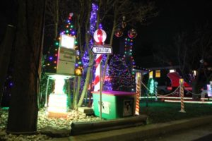 Holiday light display in the Leeway Overlee neighborhood