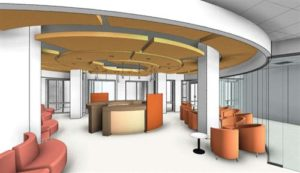 Rendering of welcome center at new Syphax Education Center