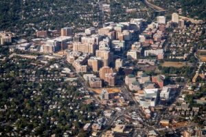 View of Clarendon to Ballston from a commercial flight (Flickr pool photo by Ddimick)