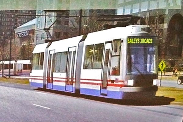 Rendering of a streetcar in Pentagon City