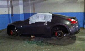 Wheels stolen in the Riverhouse parking garage (photo courtesy Dan D.)