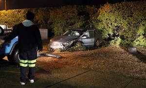 A car crashed through a row of bushes next to the entrance to the Arlington National Cemetery Metro station