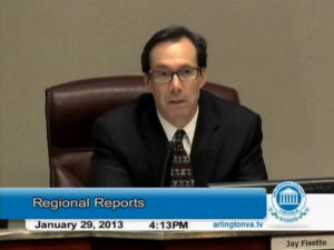 Screen grab of County Board member Jay Fisette discussing Gov. McDonnell's transporation plan