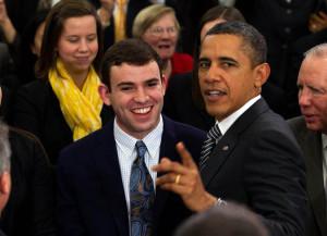 Senate page Jarrod Nagurka and President Obama