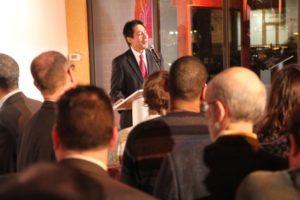 Walter Tejada speaks at a Ballston BID launch event