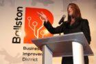 Tina Leone speaks at a Ballston BID launch event