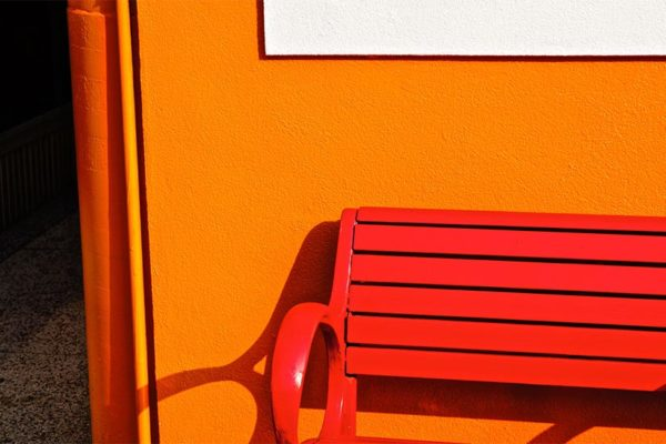Red bench in Arlington by Wolfkann