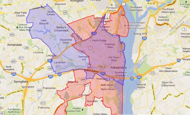 Proposed changes to state Sen. Adam Ebbin's district (in blue)