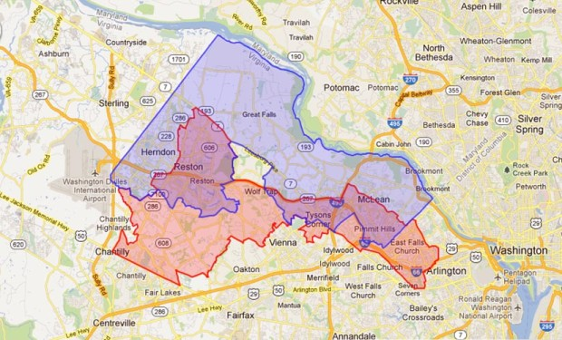 Proposed changes to state Sen. Janet Howell's district (in blue)