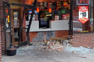 A car plowed into a Lee Highway Pizza Hut restaurant