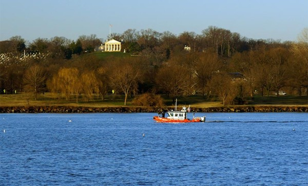 Coast Guard vessel on the Potomac, near Arlington National Cemetery