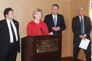 Del. Alfonso Lopez, Sen. Janet Howell, gubernatorial hopeful Terry McAuliffe, Sen. Dick Saslaw