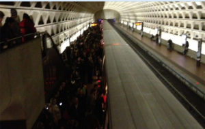 Pentagon City Metro crowding (photo via @dingramdc)