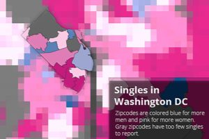 Singles map via Trulia (red represents areas with more single women than men, blue represents more men than women)
