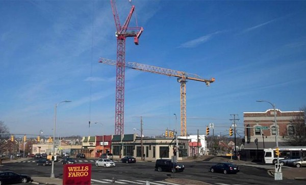 Construction cranes over Clarendon