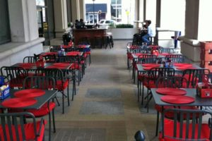 Outdoor seating at Velocity 5